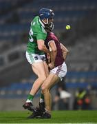 29 November 2020; David Reidy of Limerick runs into Galway full back Daithí Burke during the GAA Hurling All-Ireland Senior Championship Semi-Final match between Limerick and Galway at Croke Park in Dublin. Photo by Ray McManus/Sportsfile
