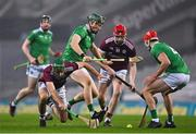 29 November 2020; Brian Concannon, left, and Joe Canning of Galway contest possession with William O'Donoghue and Barry Nash of Limerick during the GAA Hurling All-Ireland Senior Championship Semi-Final match between Limerick and Galway at Croke Park in Dublin. Photo by Brendan Moran/Sportsfile