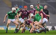 29 November 2020; Fintan Burke of Galway, centre, contests possession with Cian Lynch, left, and Kyle Hayes of Limerick during the GAA Hurling All-Ireland Senior Championship Semi-Final match between Limerick and Galway at Croke Park in Dublin. Photo by Brendan Moran/Sportsfile