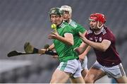 29 November 2020; William O'Donoghue of Limerick in action against Joe Canning of Galway during the GAA Hurling All-Ireland Senior Championship Semi-Final match between Limerick and Galway at Croke Park in Dublin. Photo by Brendan Moran/Sportsfile