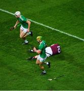 29 November 2020; Joe Canning of Galway lies on the pitch injured as the action continues around him during the GAA Hurling All-Ireland Senior Championship Semi-Final match between Limerick and Galway at Croke Park in Dublin. Photo by Daire Brennan/Sportsfile