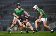 29 November 2020; Peter Casey, left, and Limerick team-mate Aaron Gillane in action against Seán Loftus of Galway during the GAA Hurling All-Ireland Senior Championship Semi-Final match between Limerick and Galway at Croke Park in Dublin. Photo by Ray McManus/Sportsfile