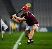29 November 2020; Joe Canning of Galway scores a point, from a sideline cut in the 33rd minute, during the GAA Hurling All-Ireland Senior Championship Semi-Final match between Limerick and Galway at Croke Park in Dublin. Photo by Ray McManus/Sportsfile