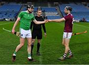 29 November 2020; The two captains, Declan Hannon of Limerick and Padraic Mannion of Galway, greet each other before match referee James Owens did the toss before the GAA Hurling All-Ireland Senior Championship Semi-Final match between Limerick and Galway at Croke Park in Dublin. Photo by Ray McManus/Sportsfile