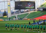 29 November 2020; The Ireland team stand for a minute's silence for the late Christophe Dominici ahead of the Autumn Nations Cup match between Ireland and Georgia at the Aviva Stadium in Dublin. Photo by Ramsey Cardy/Sportsfile