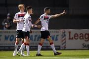 29 November 2020; Michael Duffy, right, of Dundalk celebrates with team-mates after scoring his side's first goal during the Extra.ie FAI Cup Semi-Final match between Athlone Town and Dundalk at the Athlone Town Stadium in Athlone, Westmeath. Photo by Harry Murphy/Sportsfile