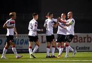 29 November 2020; Michael Duffy, centre, of Dundalk celebrates with team-mates after scoring his side's first goal during the Extra.ie FAI Cup Semi-Final match between Athlone Town and Dundalk at the Athlone Town Stadium in Athlone, Westmeath. Photo by Harry Murphy/Sportsfile