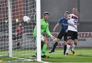 29 November 2020; John Mountney of Dundalk heads his side's fourth goal past Paddy Martin of Athlone Town during the Extra.ie FAI Cup Semi-Final match between Athlone Town and Dundalk at the Athlone Town Stadium in Athlone, Westmeath. Photo by Harry Murphy/Sportsfile