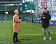 29 November 2020; Channel 4 analysts Peter Stringer, left, and Rob Kearney ahead of the Autumn Nations Cup match between Ireland and Georgia at the Aviva Stadium in Dublin. Photo by Ramsey Cardy/Sportsfile