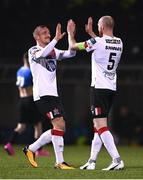 29 November 2020; Chris Shields of Dundalk celebrates with John Mountney after scoring his side's seventh goal during the Extra.ie FAI Cup Semi-Final match between Athlone Town and Dundalk at the Athlone Town Stadium in Athlone, Westmeath. Photo by Harry Murphy/Sportsfile