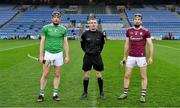 29 November 2020; Referee James Owens with the two captains, Declan Hannon of Limerick and Padraic Mannion of Galway, before the GAA Hurling All-Ireland Senior Championship Semi-Final match between Limerick and Galway at Croke Park in Dublin. Photo by Ray McManus/Sportsfile