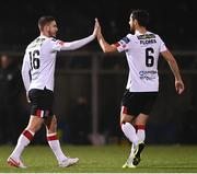 29 November 2020; Sean Murray of Dundalk celebrates with team-mate Jordan Flores after scoring his side's eleventh goal during the Extra.ie FAI Cup Semi-Final match between Athlone Town and Dundalk at the Athlone Town Stadium in Athlone, Westmeath. Photo by Harry Murphy/Sportsfile