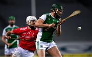 28 November 2020; Francis McBrien of Fermanagh in action against Darren O'Hanrahan of Louth during the Lory Meagher Cup Final match between Fermanagh and Louth at Croke Park in Dublin. Photo by Ray McManus/Sportsfile