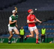 28 November 2020; Feidhleim Joyce of Louth in action against Aidan Flanagan of Fermanagh during the Lory Meagher Cup Final match between Fermanagh and Louth at Croke Park in Dublin. Photo by Ray McManus/Sportsfile