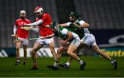 28 November 2020; Adnrew Mackin of Louth in action against Andrew Breslin and Francis McBrien of Fermanagh during the Lory Meagher Cup Final match between Fermanagh and Louth at Croke Park in Dublin. Photo by Ray McManus/Sportsfile