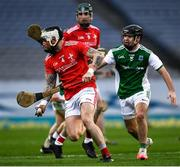 28 November 2020; Andrew McGrave of Louth in action against Caolan Duffy of Fermanagh during the Lory Meagher Cup Final match between Fermanagh and Louth at Croke Park in Dublin. Photo by Ray McManus/Sportsfile