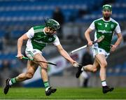 28 November 2020; Conor McShea of Fermanagh, with team-mate Dylan Bannon, left, during the Lory Meagher Cup Final match between Fermanagh and Louth at Croke Park in Dublin. Photo by Ray McManus/Sportsfile