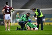 29 November 2020; Aaron Gillane of Limerick is tended to for a back injury by team physio Mark Melbourne, left, and team doctor Dr James Ryan during the GAA Hurling All-Ireland Senior Championship Semi-Final match between Limerick and Galway at Croke Park in Dublin. Photo by Piaras Ó Mídheach/Sportsfile