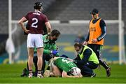 29 November 2020; Aaron Gillane of Limerick is tended to for a back injury by team physio Mark Melbourne, left, and team doctor Dr James Ryan as coach Paul Kinnerk, right, looks on during the GAA Hurling All-Ireland Senior Championship Semi-Final match between Limerick and Galway at Croke Park in Dublin. Photo by Piaras Ó Mídheach/Sportsfile