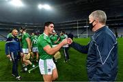 29 November 2020; Seán Finn of Limerick with his manager John Kiely after the GAA Hurling All-Ireland Senior Championship Semi-Final match between Limerick and Galway at Croke Park in Dublin. Photo by Piaras Ó Mídheach/Sportsfile