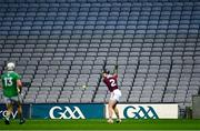 29 November 2020; Empty seats in the Davin End as Aidan Harte of Galway clears the ball downfield during the GAA Hurling All-Ireland Senior Championship Semi-Final match between Limerick and Galway at Croke Park in Dublin. Photo by Piaras Ó Mídheach/Sportsfile