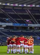 30 November 2020; Ulster players in a huddle before the Guinness PRO14 match between Edinburgh and Ulster at BT Murrayfield in Edinburgh, Scotland. Photo by Paul Devlin/Sportsfile