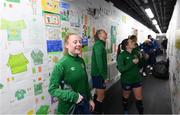 30 November 2020; Amber Barrett admires school kids artwork following a Republic of Ireland training session at Tallaght Stadium in Dublin. Photo by Stephen McCarthy/Sportsfile
