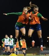30 November 2020; Rianna Jarrett, left, and Katie McCabe during a Republic of Ireland training session at Tallaght Stadium in Dublin. Photo by Stephen McCarthy/Sportsfile