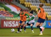 30 November 2020; Rianna Jarrett and Claire O'Riordan, right, during a Republic of Ireland training session at Tallaght Stadium in Dublin. Photo by Stephen McCarthy/Sportsfile