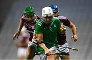 29 November 2020; Aaron Gillane of Limerick in action against Johnny Coen  during the GAA Hurling All-Ireland Senior Championship Semi-Final match between Limerick and Galway at Croke Park in Dublin. Photo by Piaras Ó Mídheach/Sportsfile