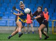 29 November 2020; Sinéad Glennon of Roscommon takes a shot at goal under pressure from Lucy Power of Westmeath during the TG4 All-Ireland Intermediate Ladies Football Championship Semi-Final match between Roscommon and Westmeath at Glennon Brothers Pearse Park in Longford. Photo by Sam Barnes/Sportsfile