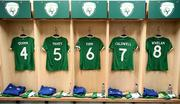 1 December 2020; Republic of Ireland jerseys hang in their changing room prior to the UEFA Women's EURO 2022 Qualifier match between Republic of Ireland and Germany at Tallaght Stadium in Dublin. Photo by Stephen McCarthy/Sportsfile