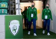 1 December 2020; Courtney Brosnan, left, and Emily Whelan of Republic of Ireland prior to the UEFA Women's EURO 2022 Qualifier match between Republic of Ireland and Germany at Tallaght Stadium in Dublin. Photo by Stephen McCarthy/Sportsfile