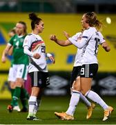 1 December 2020; Lina Magull of Germany celebrates with team-mates after scoring her side's first goal from a penalty during the UEFA Women's EURO 2022 Qualifier match between Republic of Ireland and Germany at Tallaght Stadium in Dublin. Photo by Eóin Noonan/Sportsfile