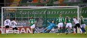 1 December 2020; Lina Magull of Germany shoots to score her side's first goal, a penalty, past Republic of Ireland goalkeeper Grace Moloney during the UEFA Women's EURO 2022 Qualifier match between Republic of Ireland and Germany at Tallaght Stadium in Dublin. Photo by Stephen McCarthy/Sportsfile