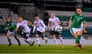 1 December 2020; Katie McCabe of Republic of Ireland shoots to score her side's first goal, from a penalty, during the UEFA Women's EURO 2022 Qualifier match between Republic of Ireland and Germany at Tallaght Stadium in Dublin. Photo by Stephen McCarthy/Sportsfile