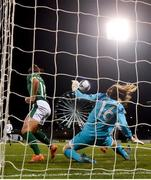 1 December 2020; Grace Moloney of Republic of Ireland saves a shot on goal by Tabea Waßmuth of Germany during the UEFA Women's EURO 2022 Qualifier match between Republic of Ireland and Germany at Tallaght Stadium in Dublin. Photo by Eóin Noonan/Sportsfile