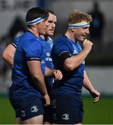 22 November 2020; Tom Clarkson of Leinster, left, with team-mates Peter Dooley and James Tracy during the Guinness PRO14 match between Leinster and Cardiff Blues at RDS Arena in Dublin. Photo by Brendan Moran/Sportsfile