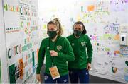 1 December 2020; Denise O'Sullivan, left, and Aine O'Gorman of Republic of Ireland prior to the UEFA Women's EURO 2022 Qualifier match between Republic of Ireland and Germany at Tallaght Stadium in Dublin. Photo by Stephen McCarthy/Sportsfile