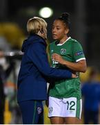 1 December 2020; Rianna Jarrett and Republic of Ireland manager Vera Pauw during the UEFA Women's EURO 2022 Qualifier match between Republic of Ireland and Germany at Tallaght Stadium in Dublin. Photo by Stephen McCarthy/Sportsfile
