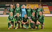 1 December 2020; The Republic of Ireland team, back row, from left, Diane Caldwell, Louise Quinn, Grace Moloney, Niamh Fahey, Jamie Finn and Rianna Jarrett, with, front row, Denise O'Sullivan, Ruesha Littlejohn, Katie McCabe, Aine O'Gorman and Heather Payne prior to the UEFA Women's EURO 2022 Qualifier match between Republic of Ireland and Germany at Tallaght Stadium in Dublin. Photo by Stephen McCarthy/Sportsfile