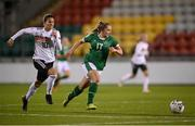 1 December 2020; Ellen Molloy of Republic of Ireland in action against Dzsenifer Marozsán of Germany during the UEFA Women's EURO 2022 Qualifier match between Republic of Ireland and Germany at Tallaght Stadium in Dublin. Photo by Stephen McCarthy/Sportsfile