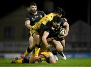 4 December 2020; Tom Daly of Connacht is tackled by Tommaso Menoncello and Ian Keatley of Benetton during the Guinness PRO14 match between Connacht and Benetton at the Sportsground in Galway. Photo by Harry Murphy/Sportsfile