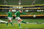 5 December 2020; Jonathan Sexton, centre, and Ross Byrne of Ireland prior to the Autumn Nations Cup match between Ireland and Scotland at the Aviva Stadium in Dublin. Photo by Seb Daly/Sportsfile