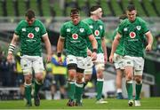 5 December 2020; Ireland players, from left, Peter O'Mahony, CJ Stander and Jonathan Sexton react during the Autumn Nations Cup match between Ireland and Scotland at the Aviva Stadium in Dublin. Photo by Ramsey Cardy/Sportsfile