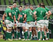 5 December 2020; Ireland captain Jonathan Sexton speaks to his team-mates during the Autumn Nations Cup match between Ireland and Scotland at the Aviva Stadium in Dublin. Photo by Ramsey Cardy/Sportsfile