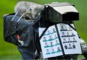 5 December 2020; A view of teamsheets taped to a broadcast camera the Autumn Nations Cup match between Ireland and Scotland at the Aviva Stadium in Dublin. Photo by Seb Daly/Sportsfile