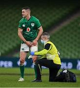 5 December 2020; Jonathan Sexton of Ireland wth Team doctor Dr Ciaran Cosgrave during the Autumn Nations Cup match between Ireland and Scotland at the Aviva Stadium in Dublin. Photo by Ramsey Cardy/Sportsfile