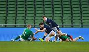 5 December 2020; Keith Earls of Ireland scores his side's first try during the Autumn Nations Cup match between Ireland and Scotland at the Aviva Stadium in Dublin. Photo by Ramsey Cardy/Sportsfile