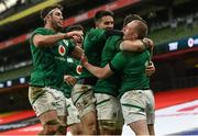 5 December 2020; Keith Earls of Ireland celebrates with team-mates after scoring his side's third try during the Autumn Nations Cup match between Ireland and Scotland at the Aviva Stadium in Dublin. Photo by Ramsey Cardy/Sportsfile